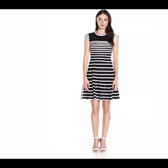 ae3d5dc96c353 Betsy & Adam Dresses | Betsy Adam Womens Striped Cap Sleeve Dress 14 ...